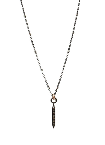 Pave Diamond Dagger Necklace Small