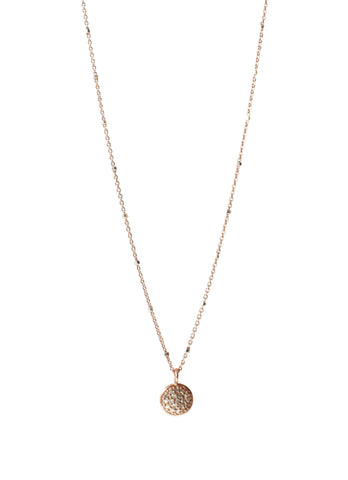 Pave Diamond Rose Gold Disc Pendant Necklace | Rebecca Scott Jewelry