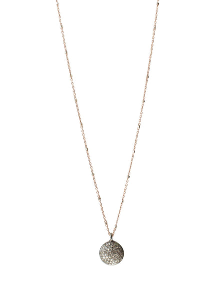 Pave Diamond Round Disc Necklace Large