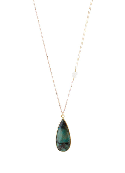 Delicate Pendant Drop Necklace | REBECCA SCOTT JEWELRY | Herkimer Diamonds | Chrysocolla | Green Gemstone | Handmade Jewelry | Feminine Jewelry