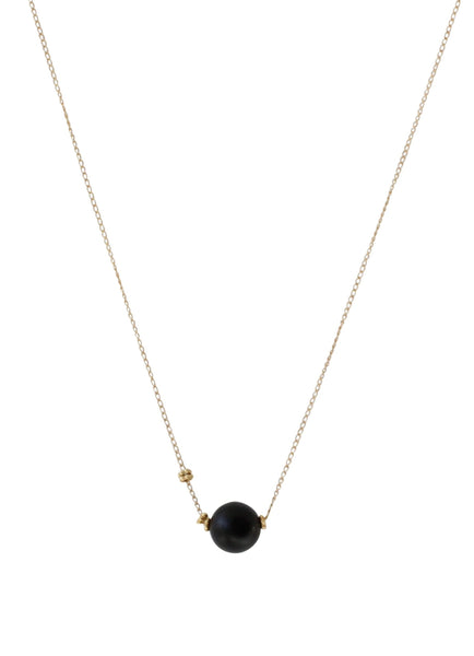 Simple Ball Drop Necklace | Handmade Necklace | Rebecca Scott Jewelry | Black Onyx | Everyday necklace | Minimal jewelry | minimalist style | elegant jewelry | fine jewelry | gifts for women | handmade gift | ethically made jewelry |