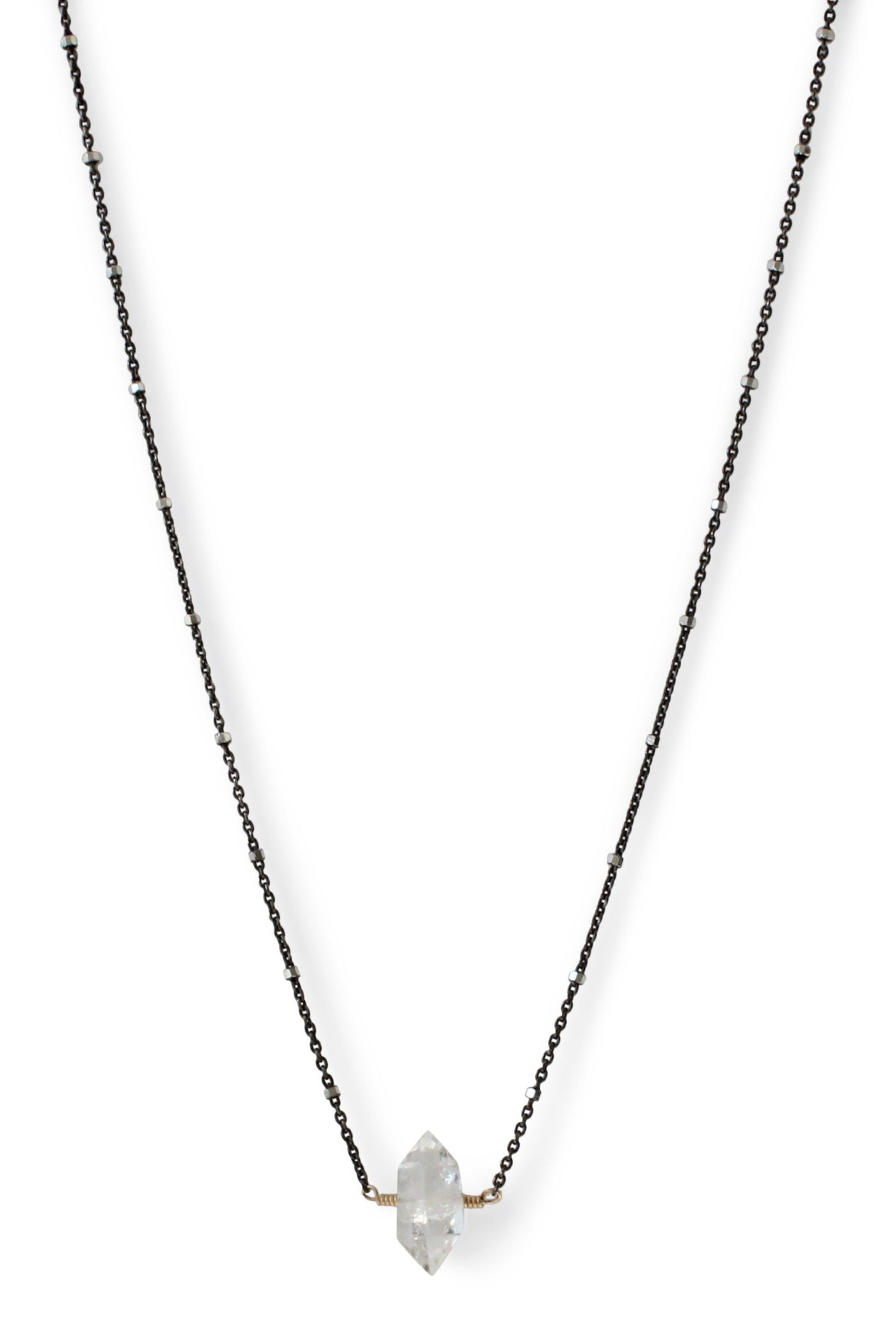 Herkimer Diamond Necklace | REBECCA SCOTT JEWELRY | Simple Everyday Jewelry | Black Silver Sparkle Chain