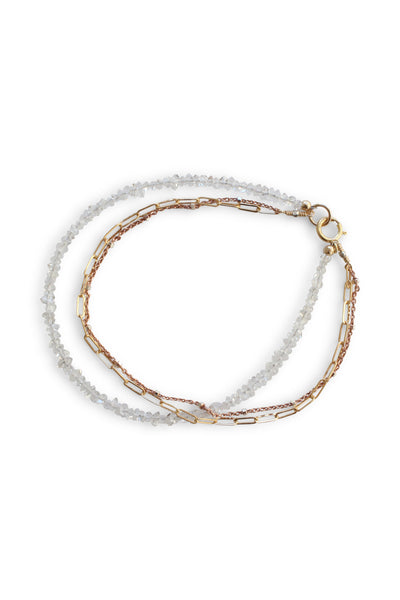 Herkimer Diamonds Mixed Chain Bracelet Triple Strand | REBECCA SCOTT JEWELRY | Delicate Bracelet | Feminine Jewelry | Handmade Jewelry | Rose Gold