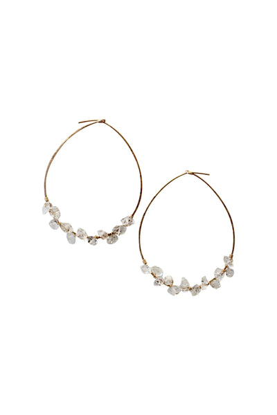 Herkimer Diamond Hoop Earrings | Handmade Hoop Earrings | Hand-forged gold wire hoop earring | Rebecca Scott Jewelry | Bridal Jewelry | Feminine Bohemian Earrings