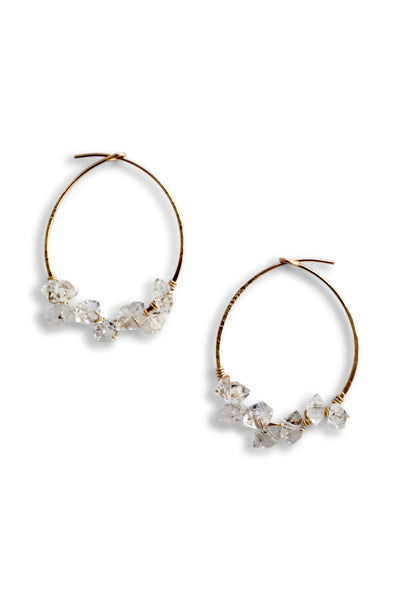 Herkimer Diamond Hoop Earrings Small | Handmade Hoop Earrings | Hand-forged gold wire hoop earring | Rebecca Scott Jewelry | Bridal Jewelry | Feminine Bohemian Earrings | Dainty Earrings