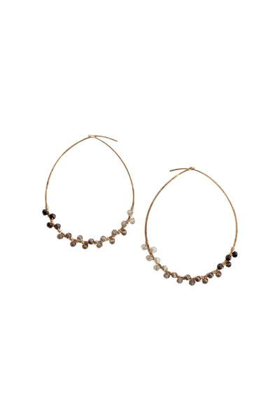 Gemstone Hoop Earrings in Smoky Quartz Ombre