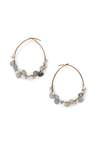 Aquamarine | Pearl | Something Blue | Hoop Earrings | Handmade | Wire Wrapped | Rebecca Scott Jewelry | Bridal Jewelry | Earrings | Gold Hoop Earrings | Modern Bohemian | Evening Jewelry