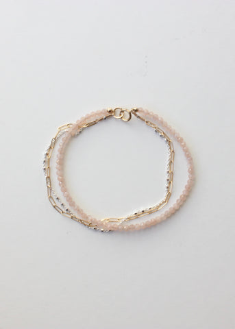 Triple Strand Gemstone Bracelet in Peachy Pink Moonstone
