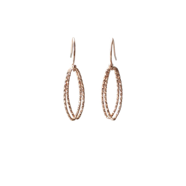 Marquise Link Earrings in Rose Gold