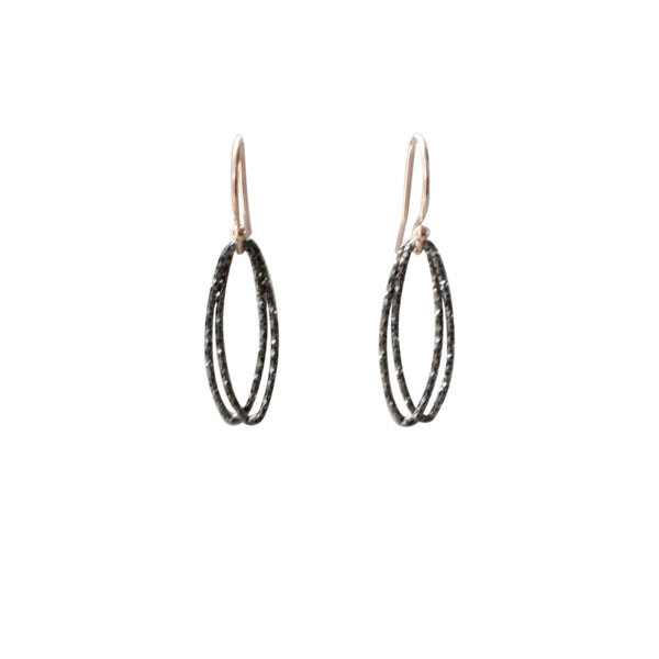 Marquise Link Earrings in Black Silver
