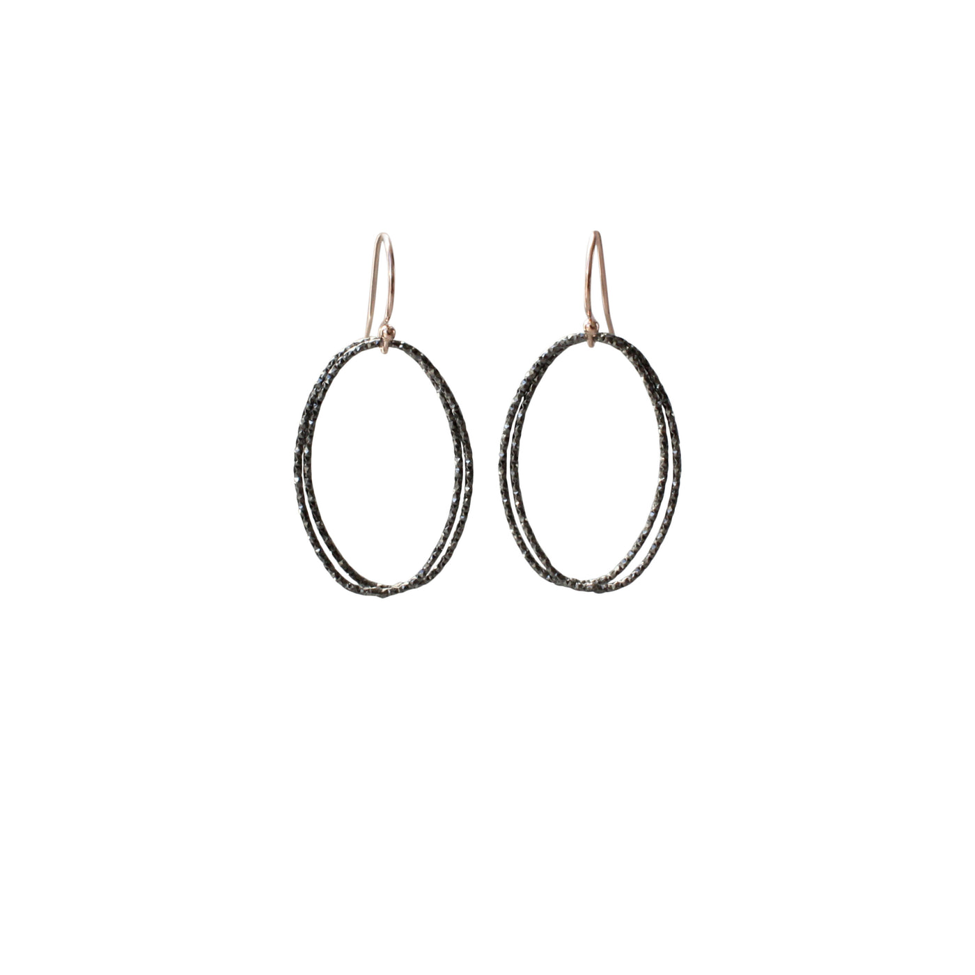 Link Earrings | Hoop Earrings | Rebecca Scott Jewelry | Black | Oxidized Silver | Simple Everyday earrings | Work Appropriate jewelry | Simple minimal jewelry | simple hoops