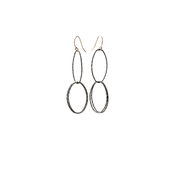 Long Link Earrings | Double Hoop Earrings | Rebecca Scott Jewelry | Black | Oxidized Silver | Special Occasion Jewelry | Statement Jewelry | Simple minimal jewelry | simple long hoops