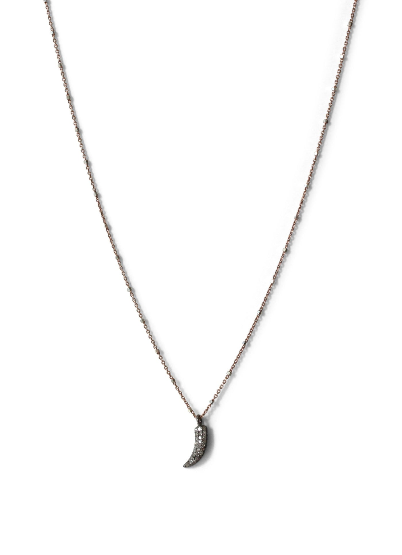 Pave Diamond Horn Charm Necklace