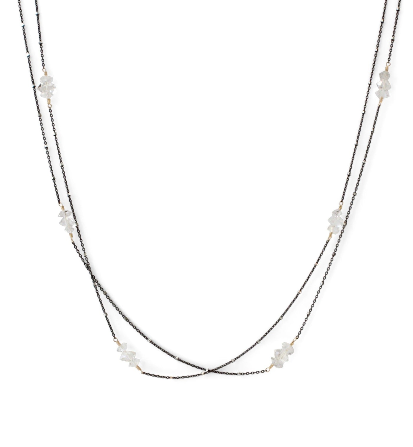 Herkimer Diamond Long Cluster Necklace in Black Silver – REBECCA SCOTT eb2e53334