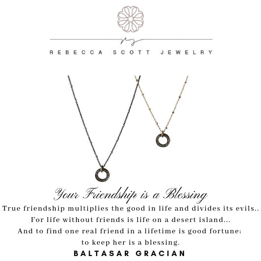 Friendship Necklace Set | Rebecca Scott Jewelry | Meaningful Gift Set | Gift for Friend | Friendship necklace | pave diamond necklace | Ring Necklace | rose gold | oxidized silver | Christmas gift for friend
