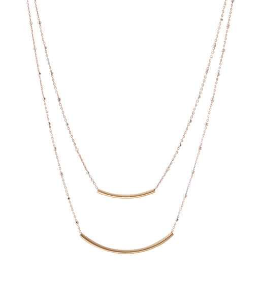 Modern Metal Bar Necklace Rose Gold | Rebecca Scott Jewelry