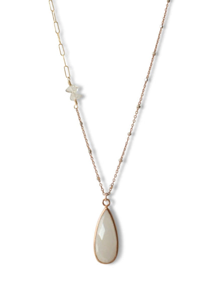 Delicate Pendant Drop Necklace  in White Moonstone