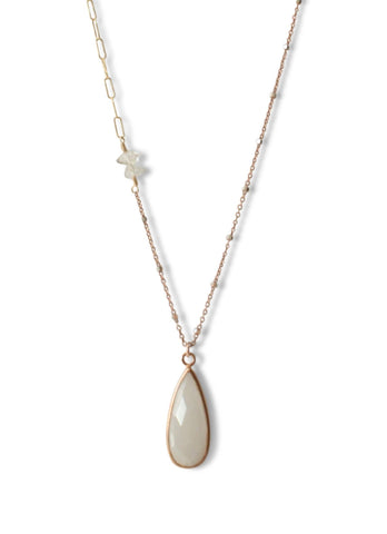 Delicate Pendant Drop Necklace White Moonstone