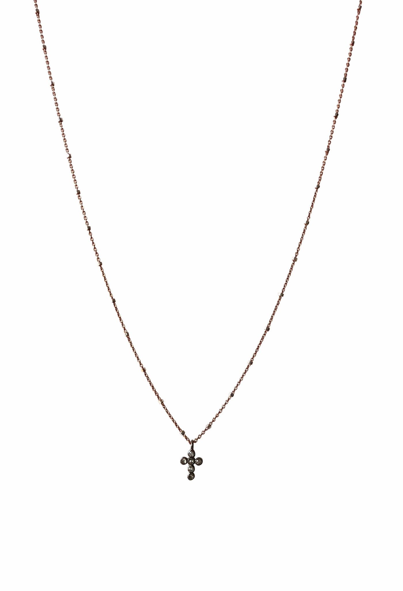 Pave Diamond Cross Charm Necklace
