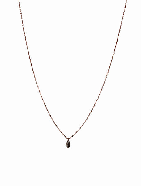 Pave Diamond Marquise Drop Charm Necklace | Rebecca Scott Jewelry | mixed metal jewelry | dainty necklace | made in usa | rose gold | feminine style