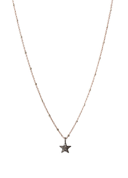 Diamond Star Charm | Pave Diamond Star Necklace | Rebecca Scott Jewelry | everyday necklace | sparkle charm | feminine style | handmade jewelry | rose gold | oxidized silver