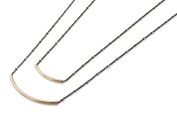 Modern Metal Bar Necklace Black Silver | Rebecca Scott Jewelry