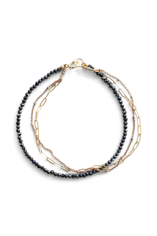 Midnight Spinel Mixed Chain Bracelet Triple Strand | REBECCA SCOTT JEWELRY | Delicate Bracelet | Feminine Jewelry | Handmade Jewelry