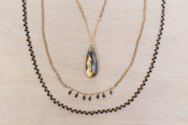 Woven Long Necklace | Duet Weave in Black Spinel