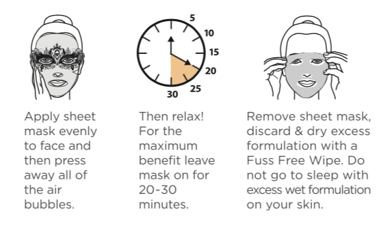 Fuss Free Naturals Sheet Mask Instructions