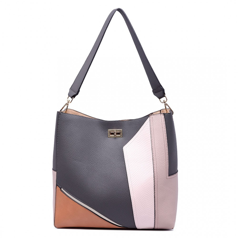 SLOUCHY LEATHER SHOULDER BAG GREY-Handbags-ML-Daring Diva Australia