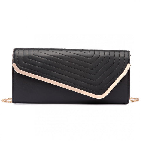 QUILTED ENVELOPE CLUTCH BAG BLACK-Handbags-ML-Daring Diva Australia