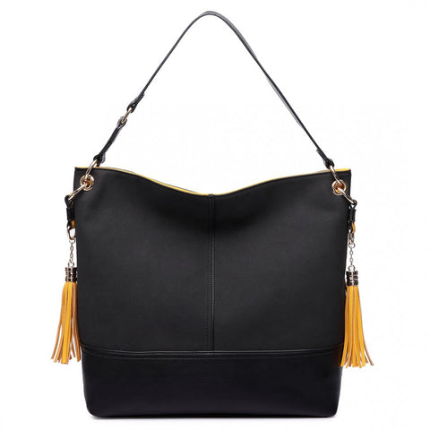 LEATHER TASSEL SLOUCH HOBO BAG BLACK-Handbags-ML-Daring Diva Australia