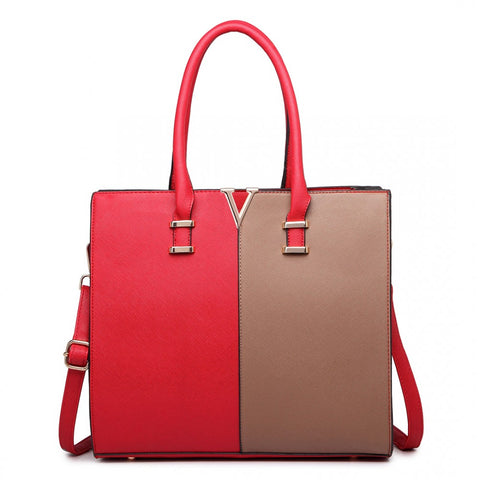 SPLIT FRONT TOTE HANDBAG RED/BROWN-Handbags-ML-Daring Diva Australia
