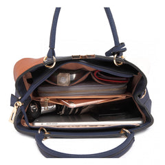 COLOUR BLOCK PANEL SHOULDER BAG BROWN-SOLD-SOLD-Daring Diva Australia