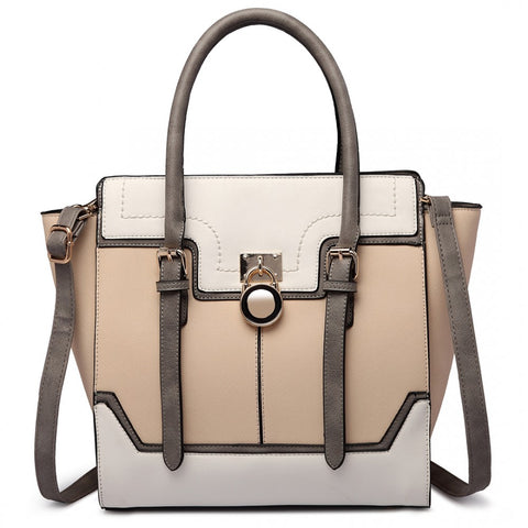 PADLOCK WINGED SHOULDER BAG BEIGE-Handbags-ML-Daring Diva Australia