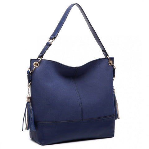 LEATHER TASSEL SLOUCH HOBO BAG NAVY-Handbags-ML-Daring Diva Australia