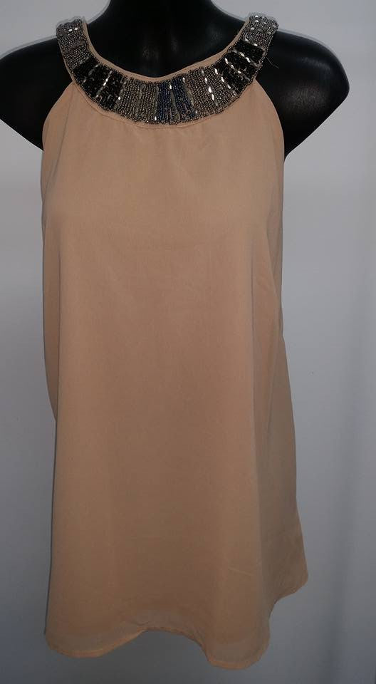 Z-Chiffon Layered Beaded Top Coffee-SOLD-SOLD-Daring Diva Australia