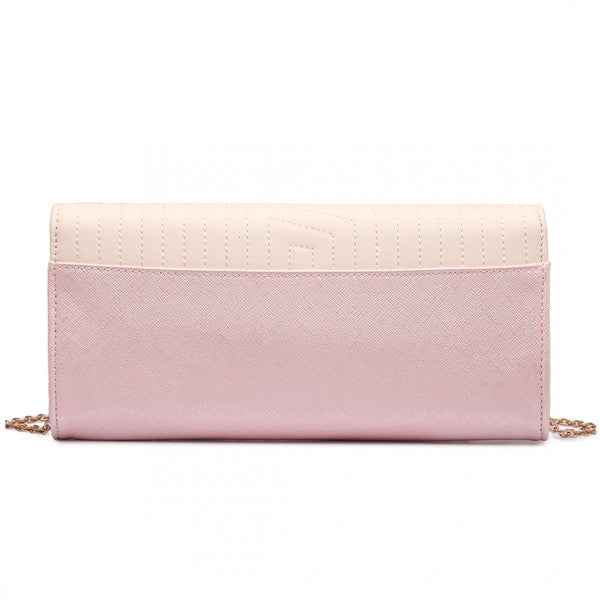QUILTED ENVELOPE CLUTCH BAG LIGHT PINK-Handbags-ML-Daring Diva Australia