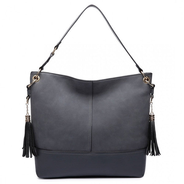 Z-LEATHER TASSEL SLOUCH HOBO BAG GREY-SOLD-SOLD-Daring Diva Australia