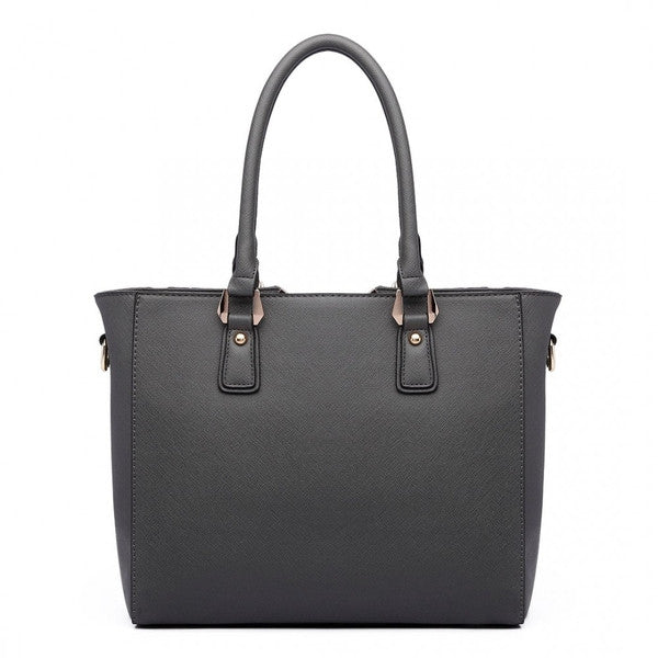 SPLICING TOTE BAG GREY-Handbags-ML-Daring Diva Australia