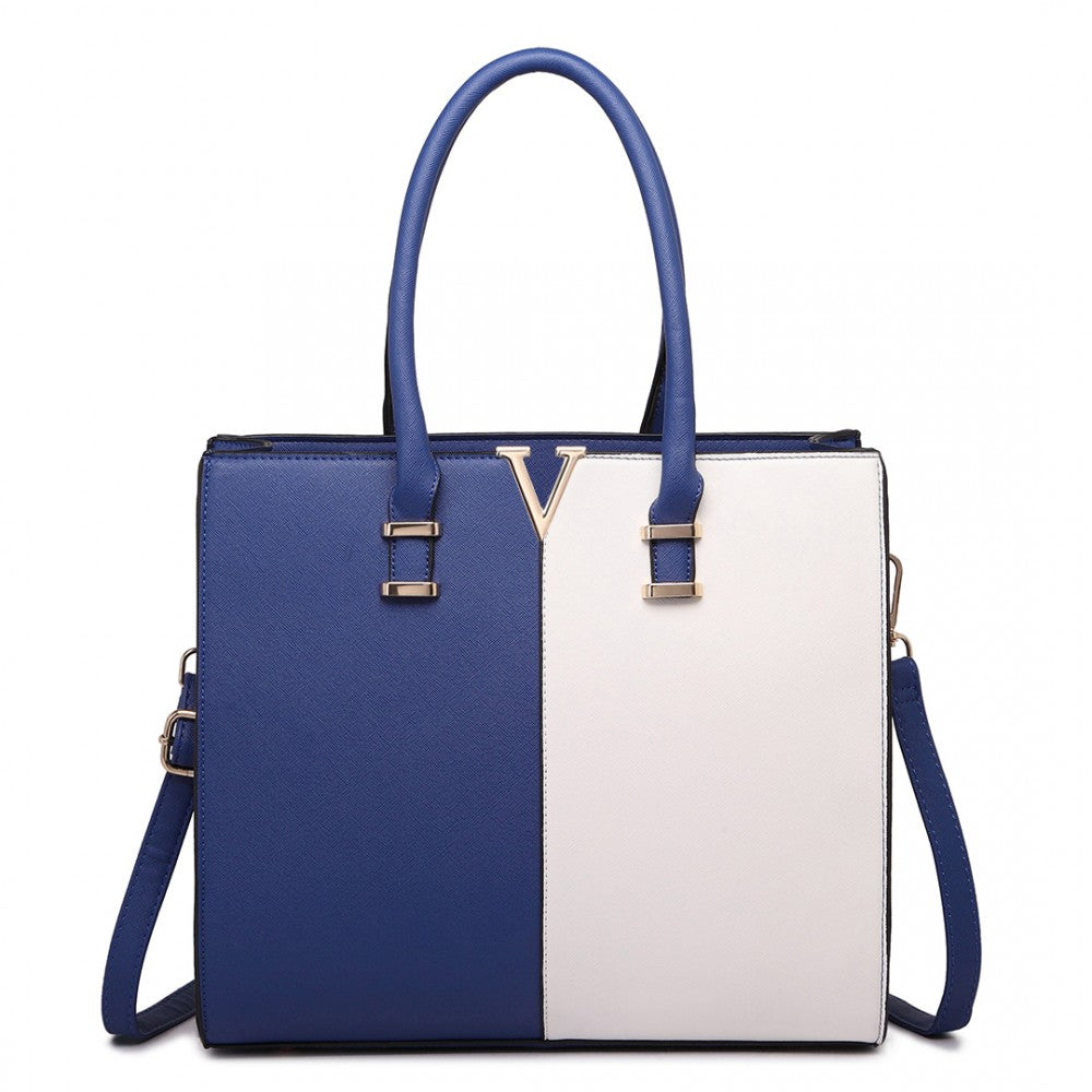 SPLIT FRONT TOTE HANDBAG NAVY/WHITE-Handbags-ML-Daring Diva Australia