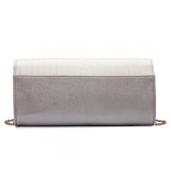 QUILTED ENVELOPE CLUTCH BAG SILVERY WHITE-Handbags-ML-Daring Diva Australia
