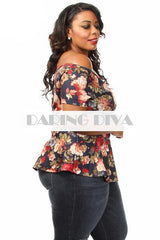 Z-Off Shoulder Floral Flair Top Navy-SOLD-SOLD-Daring Diva Australia