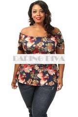 Off Shoulder Floral Flair Top Navy-Tops-Daring Diva-14-Daring Diva Australia