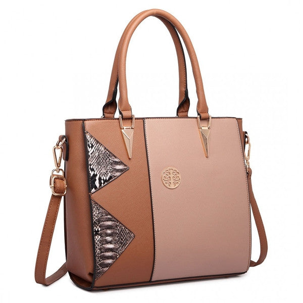 Z-SPLIT FRONT TOTE BAG BROWN/TAN-SOLD-SOLD-Daring Diva Australia