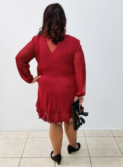 Dark Red V-Neck Lace Trim Dress-SOLD-SOLD-18-Daring Diva Australia