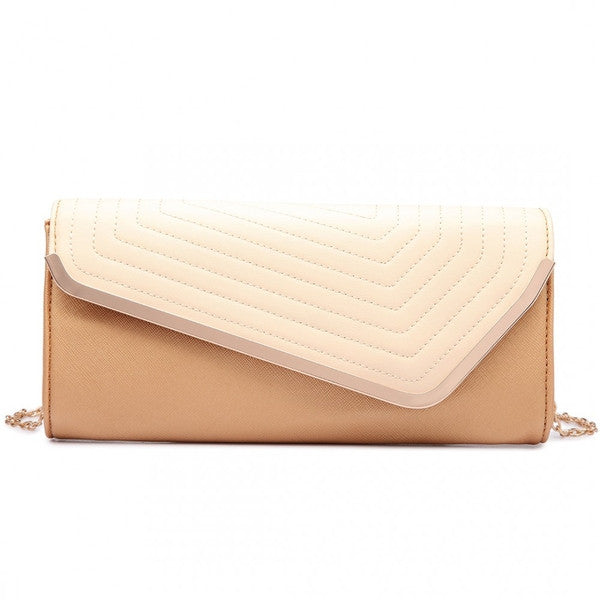 QUILTED ENVELOPE CLUTCH BAG GOLD/NUDE-SOLD-SOLD-Daring Diva Australia