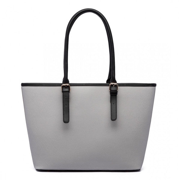 Z-CENTER STRIPE TOTE BAG GREY-SOLD-SOLD-Daring Diva Australia