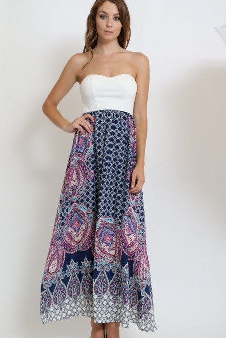 Z-Strapless Printed Maxi Dress Navy-SOLD-SOLD-Daring Diva Australia