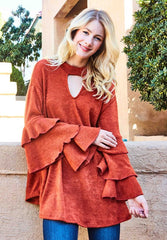 Z-RUFFLED SLEEVE SWEATER KNIT TUNIC-SOLD-SOLD-Daring Diva Australia